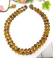 Vintage Golden Yellow Brown Two Strand Glass Bead Choker Necklace