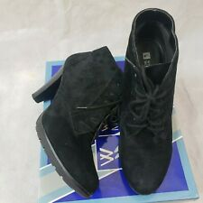 White Mountain Lace Up Black Suede Booties Size 81/2