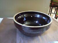 Dark Brown glazed Stoneware Bowl  USA 9 IN Heavy Duty  beehive shape