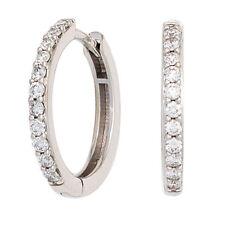 Damen Creolen 585 Gold Weißgold 22 Diamanten Brillanten Ohrringe Diamantcreolen