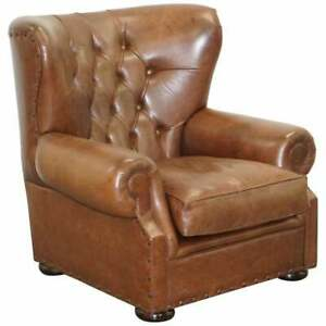 RALPH LAUREN WRITER'S STYLE CHESTERFIELD BROWN LEATHER ARMCHAIR LARGE INCHARGE