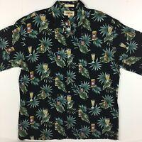 Campia Moda XL Black Hawaiian Aloha Beer Drinks Camp Shirt 100% Rayon