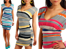 Ladies Striped Sailor Dress Draped Style Multicolored Empire Wasit Tube Top 5539
