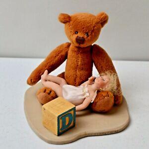 VINTAGE MARY ANNE OLDENBURG OOAK ARTIST MINIATURE DOLL SO COMFY TEDDY BEAR