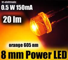 5 Stück 0,5W Power LED 8mm orange 605nm 20 lm, Kurzkopf Flachkopf Straw Hat