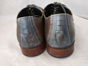 Cole Haan 09472 Blue Croc Embossed Taupe Leather Shoe US Sz 14