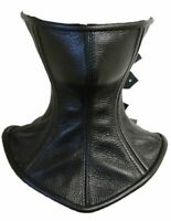 Roller buckle Black Real Leather Over Mouth Neck Corset Posture Collar
