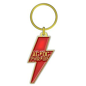 Ac/DC Pwr/Up Lightning Shaped metal Keyring (rz)
