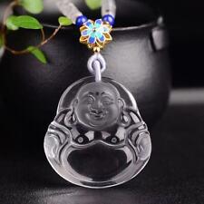 Natural Clear White Crystal Quartz Carved Maitreya Buddha Vairocana Pendant Gift