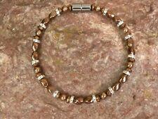 Copper Magnetic Hematite Necklace Anklet Bracelet Silver Clear Crystal