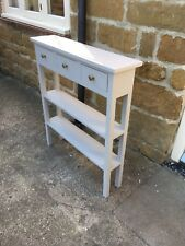 H80 W90 D23cm BESPOKE CONSOLE HALL TABLE 3 DRAWER 2 SHELVES LA FRENCH GREY SATIN