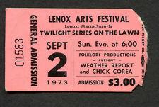 Original 1973 Weather Report Chic Corea concert ticket stub Lenox Ma Jazz