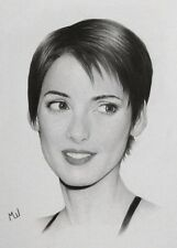 Winona Ryder Original Portrait of the Actress - Realistic Pencil Drawing Artwork