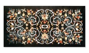 24 x 48 Inches Marble Lawn Table Top Black Patio Dining Table Marquetry Art