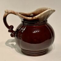 "Vintage McCoy Pottery USA Pitcher, Brown Drip Glaze, Pottery Ceramic, 5"", #7528"