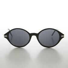 Simple Oval Black 90s Unisex Sunglass Silver Temples - Binxy