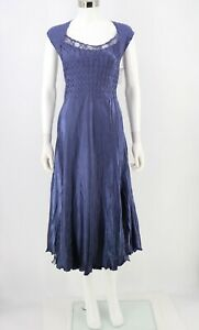 Komarov NEW Size Large Charmeuse Midi Dress Blue Lace Inset A-Line Womens