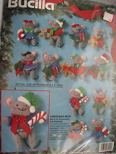 Bucilla Holiday Felt Applique ORNAMENT Craft KIT,CHRISTMAS MICE,Mouse,83139,12pc