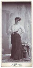 ANTIQUE Photograph Cabinet Card Prague Czech Republic elegant lady fashion skirt
