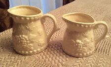 Vintage Napcoware Measuring Cups Japan White Ceramic Set Of 2 Grape&Leaf Design