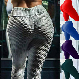 Damen Anti Cellulite Butt Lift Yoga Leggings Sports Hose PUSH UP Jogginghose Neu