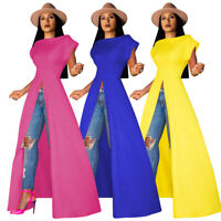 Women Fashion Short Sleeves Solid Color Casual High Slit Long Blouse Tops Dress