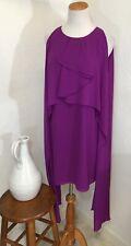 Belle Badgley Mischka Dress Size 10 Cocktail Chiffon Sheath Swing Ruffle Purple