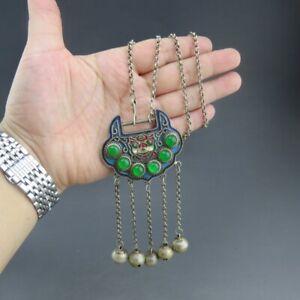 China,jade,pure silver,natural jade,Jadeite,jade,lock,pendant  C(19)