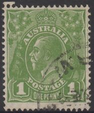 COMPARTMENT LINE on 1d green KGV head Australia stamp plate variety flaw