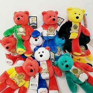 EURO BEARS Plush Bears w/ Coin RETIRED LIMITED TREASURES w/ Tags LOT of (10)