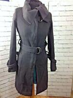 Topshop Wool Mix Grey Buckle Funnel Neck Coat 6