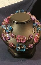 ART DECO VINTAGE ACRYLIC PURPLE < PINK <BLUE BEAD BRASS WIRED NECKLACE 26""