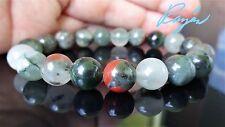 """Genuine African Bloodstone Bead Bracelet for Men Women (Stretch) 10mm - 7.5"""" AAA"""