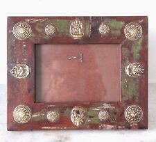 Antique Reproduction Handmade Brass Design Rustic Wooden 6 x 4 Photo Frame 002