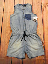2110fc1369dc DKNY WOMEN S DENIM SLEEVELESS ROMPER V-NECK SIZE 12