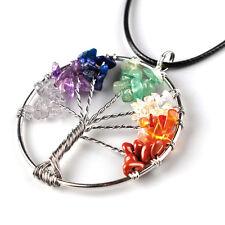 Tree Of Life Natural Amethyst Quartz Gemstone Chips Stone Bead Pendant Necklace