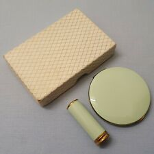 STUNNING VINTAGE BRASS AND ENAMEL LIPSTICK AND POWDER COMPACT SET