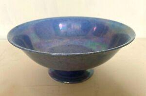 Ruskin pottery mottled lavender lustre footed bowl impressed marks
