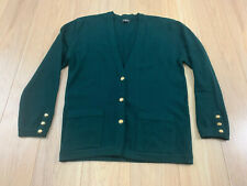 Vintage Chanel Cashmere Green Sweater Cardigan Gold Buttons