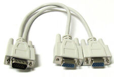 1 PC TO 2 VGA SVGA MONITOR Y SPLITTER CABLE 15 PIN 1 VGA Male to 2 VGA Female