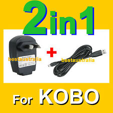new KOBO eREADER TOUCH USB DATA SYNC CABLE WALL HOME MAINS AC CHARGER ADAPTER