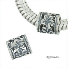 2 Sterling Silver Flower Tube European Charm Leather Cord Spacer Beads #51954