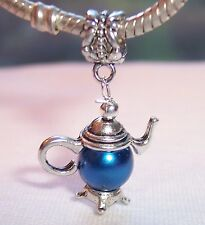Teapot Metallic Blue Pearl Tea Kitchen Dangle Bead fits European Charm Bracelet
