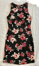 Black Sleeveless Floral Sheath Dress With Back Zip Entry By Forever 21 Sz S EUC