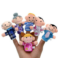 6Pcs Baby Family Members Children Plush Soft Finger Hand Puppets Toys Doll Kids