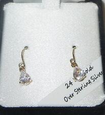 Earrings 24 KT Gold Over Sterling Vermeil Pierced Tear Drop New in Box Clear