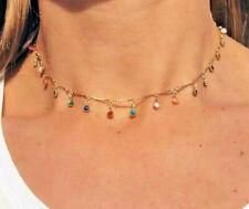 Collana Donna Con Pietre Girocollo in Acciaio Collanina Oro Chocker Colorata