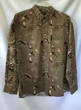 North River Outfitters Mens Med Long Sleeve Button Shirt Brown Turkeys Pheasants