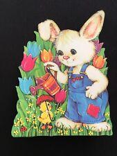 "Vtg Easter Cute Denim Bunny Die Cut Cardboard Decoration Large 13"" Tulips Duck"