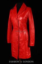 Cappotti e giacche da donna in pelle rossa con bottone